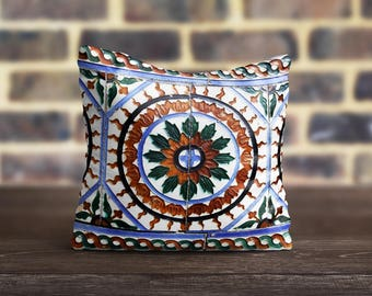 Morocco PillowCase Brown Blue Throw Pillow Cover Luxury Pillow Toss Silk Pillow Case Cushion Portuguese Satin PillowCase Mom Gift Home Decor