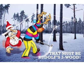 Golf Christmas card - That must be Rudolf's 3-wood! Funny Christmas card - card for husband - card for boyfriend