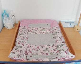 Changing mat cover and 2 napkins with customizable
