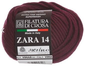 Filatura Di Crosa Zara 14 Bulky Yarn - 1461 Bergundy Lot 87707