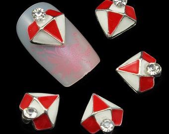 10Pcs 3D Nail Art Decorations red  Diamond Sharp Rhinestones For Nails DIY Nail Tools