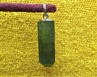 Tourmaline green crystal verdeite pendant 925 sterling silver