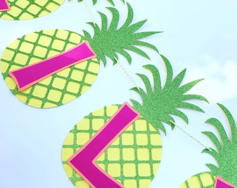 Tropical Pineapple Birthday Banner Tropical Pineapple Banner Girls Birthday Banner Name Birthday Banner Tropical Pineapple Girls Birthday