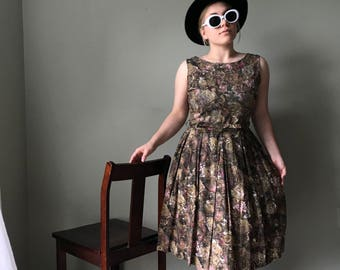 1950s Brown Floral Fit and Flare Dress