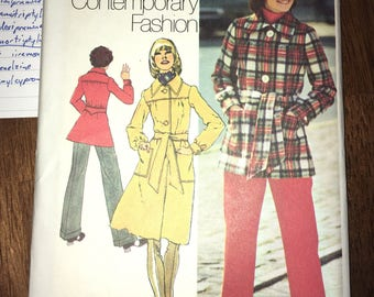 "Dress Like Mary Tyler Moore on Her Show - ViNtage UNCUT 1972 Misses' Coat & Pants Pattern SIMPLICITY #5257 Size 12 Bust 34"" Waist 26.5"""