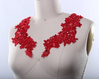 Red Lace Applique. Red Applique Red Beaded Applique with Pearls and Sequins. Embroidered Heavily with Complex design Lipstick