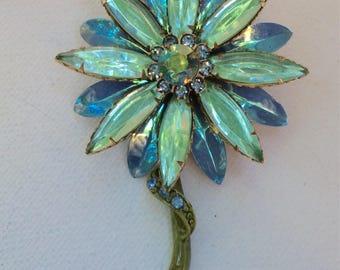 Beautiful Blue and Aqua Color Glass Flower Brooch