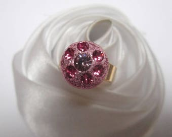 ring gold pink Crystal beads are pink Crystal re-imagined
