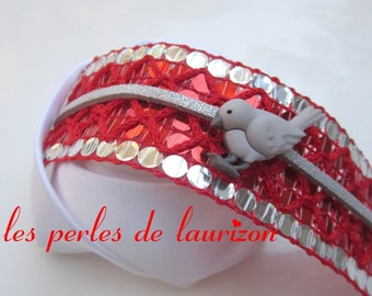 Bracelet red grey bird