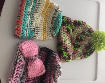Homemade crochet baby girl hats
