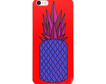 Retro Pineapple iPhone Case, original design, geometric, pink, blue, red, orange, gift idea, present, phone case