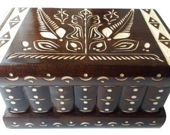 Puzzle box Jewelry box Magic box Mystery box  Secret box brain teaser big nut brown wooden tricky trinket box handcarved  box hidden place