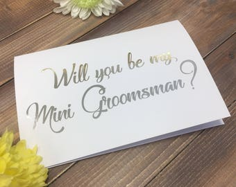 Grooms man card, Will you be mini groomsman? Page boy, Wedding Stationery