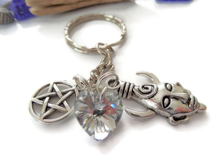 Supernatural themed gift, supernatural keyring, fandom gift, amulet mask gift, protection keyring, pentagram gift, winchester gift