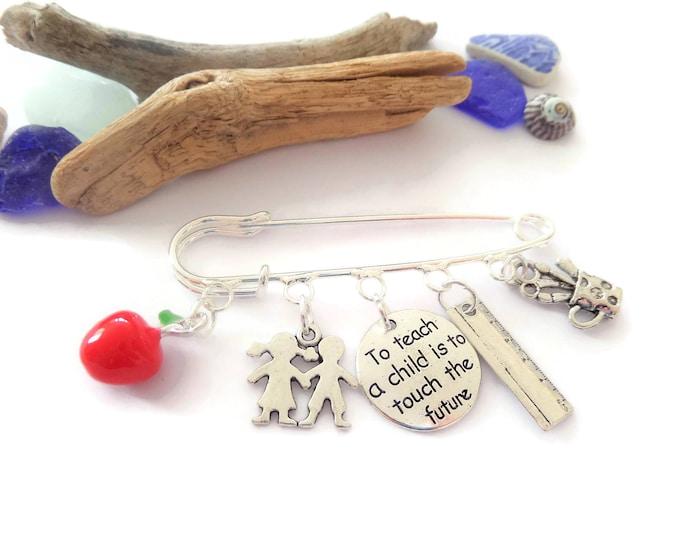 Teacher gift, thank you teacher, teacher kilt brooch, teacher bag clip,  school gift, teach a child, leaving school gift, class brooch