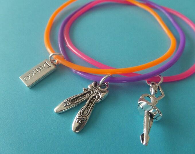 3 OR 6 ballet bracelets, dance party bags, love to dance, ballet gummy bands, party bag favors, dancer gift,  ballet party gift