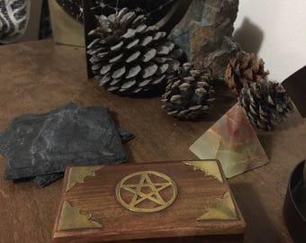 Vintage Pentagram Stash Treasure Herb Jewelry Box Witch Wicca Wiccan