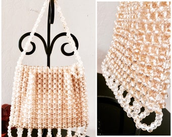 50's-60's Weinstock's Champagne Faceted Beaded Handbag Purse Retro/Rockabilly/Secretary made In British Crown Colony Of Hong Kong