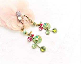 """reflections of lagoon"" earring on bronze green patina bead African turquoise, Rhinestones, swarovski crystal bead"