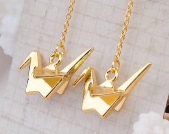 Golden origami gold crane 66mm earring