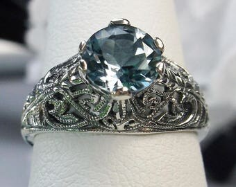 Natural Sky Blue Topaz Sterling Silver Wedding Art Deco Filigree Ring Size: {Made To Order} #199