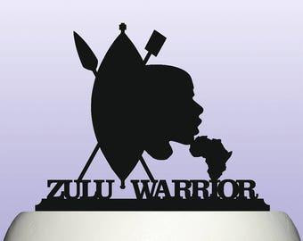 African Zulu Warrior Acrylic Cake Topper Decoration