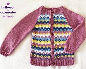 Child Vest Cotton Vest Nordic Vest Ethno Knit Jacquard Kid