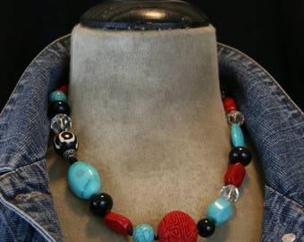 SUMMER SALE Semi-Precious Stone Assemblage Statement Necklace