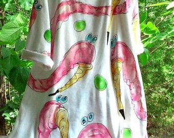 Pink Flamingo Hand Painted Cotton Knit Dress Made to Order KellyJacksonDesign