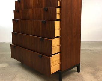 Danish Modern | Directional Walnut Tall Chest by Milo Baughman | Mid Century