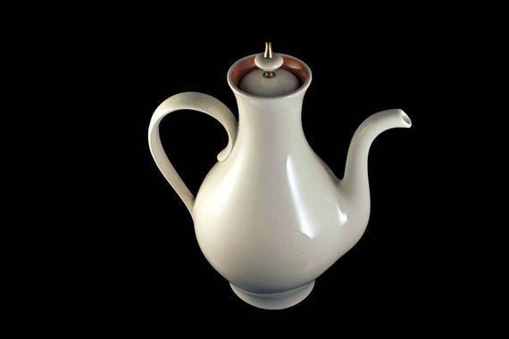 Teapot, Spanish Style, Ivory, Orange Trim, 6 Cups, Coffee Pot