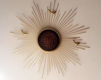 Decorative Starburst Mirror,Metal Wall Mirror,Wall Hanging  in Sunburst Shape (Sunburst Bird)MD105