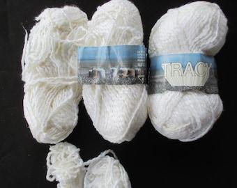 NOS Cotton Yarn, Vintage White Yarn, Knitting Supplies, Crochet Thread, Textured Cotton-Viscose Yarn, Vintage Yarn 110 grams