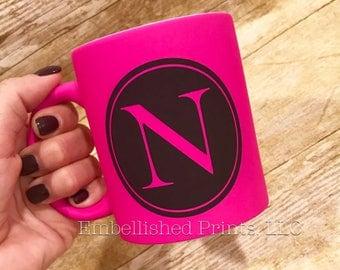 Personalized 11 ounce ceramic coffee mug.