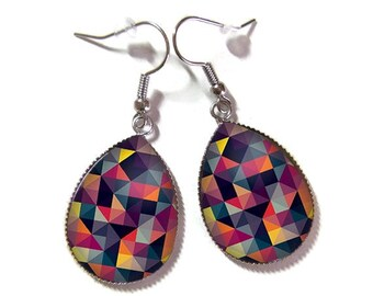 Drop earrings with glass cabochon 18 x 25 mm * geometric * (310517)