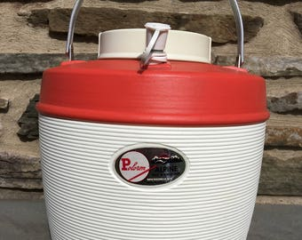 Vintage Poloron Alpine Insulated Jug...Hot. Cold. Drinks. Camping. Glamping. Cooler. Plastic. Aluminum. Red. White. Gallon. Dispenser. Retro