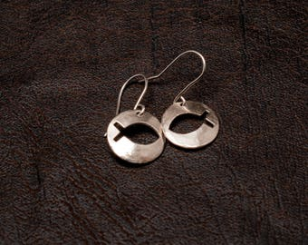 Sterling silver Jesus Fish earrings