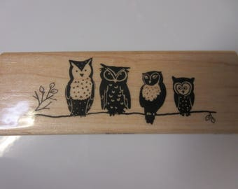 Oooo Are You Owls On A Branch Rubber Stamp-Owl Stamp