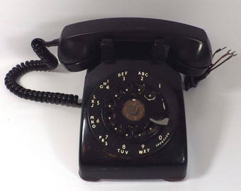Vintage Western Electric Bell Systems Rotary Dial Telephone CD 500 Black 1969