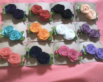 Felt Roses on Covered Alligator Clips - Comes as a set