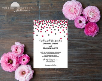 Cascading Confetti Wedding Invitation with Envelope - 5x7