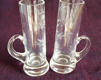 Hand Blown and Etched Shot Glasses/ Cordial/ Aparitif Glasses