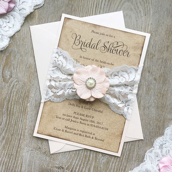MARGAUX - Boho Bridal Shower Invitation in Kraft and Pale Peachy Pink Card Stock w/ Lace Belly Band, Soft Peach Paper Flower & Pearl Button