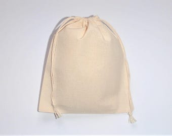 "Cotton Drawstring Bags * Fabric Favor Bags * Cotton Gift Wrap * Sachet Herbs * Muslin Bags set of 10 * 5"" x 6"" ( 13cm x 15cm)"