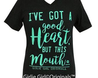 Girlie Girl Originals Good Heart V-Neck Black Heather T-Shirt