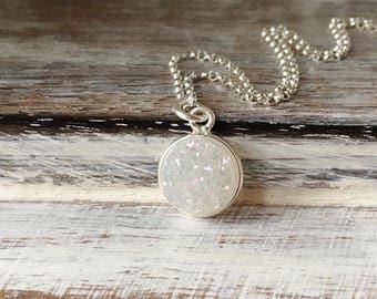 White Druzy Necklace~Druzy Necklace~Druzy Jewellery~White Druzy~Silver Jewellery~Minimal Jewellery~Eleanor Rose Jewellery~UK Shop
