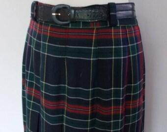 summer sale Vintage kilt Red Plaid Tartan Pleated Skirt Kilt size small by Paul Separates