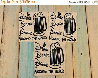 ON SALE Drink Drank Drunk Around the World,  Epcot 2017 ON Back, Disney Food and Wine Festival shirt,Disney drinking shirts, Disney shirt,