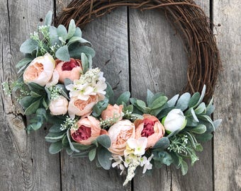 Spring Wreaths for Front Door, Peony Wreath, Spring Wreath, Door Wreath, Mother's Day Wreath, Gift For Her, Baby Girl Wreath, Summer Wreaths