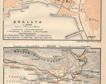 1905 Split Croatia Antique Map
